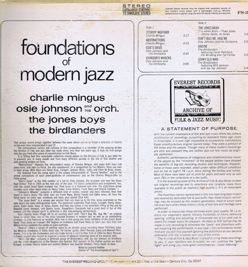 Charlie Mingus, Osie Johnson And His Orch., The Jones Boys, The Birdlanders ‎– Foundations Of Modern Jazz
