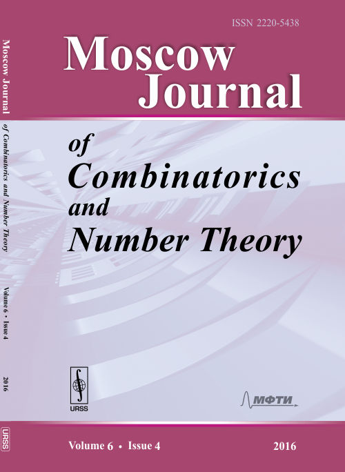 Moscow Journal of Combinatorics and Number Theory. Vol.6, Iss.4