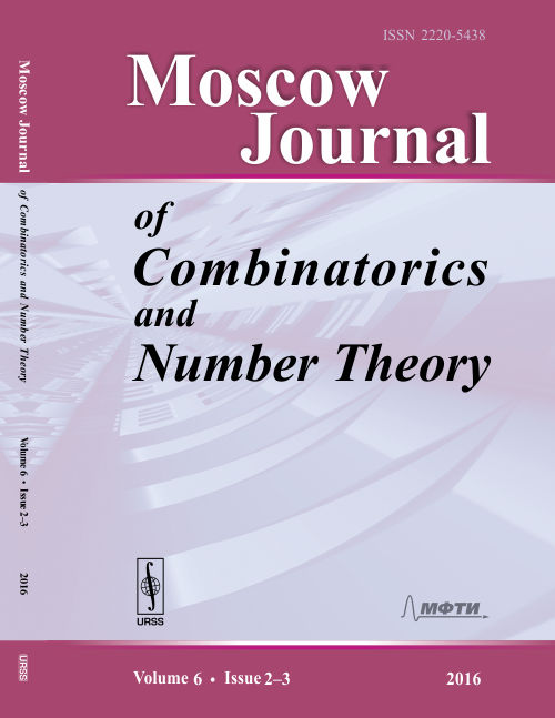 Moscow Journal of Combinatorics and Number Theory. Vol.6, Iss.2--3